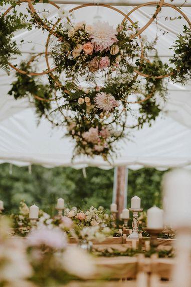 Hanging Flower Hoops Marquee Wedding Decor
