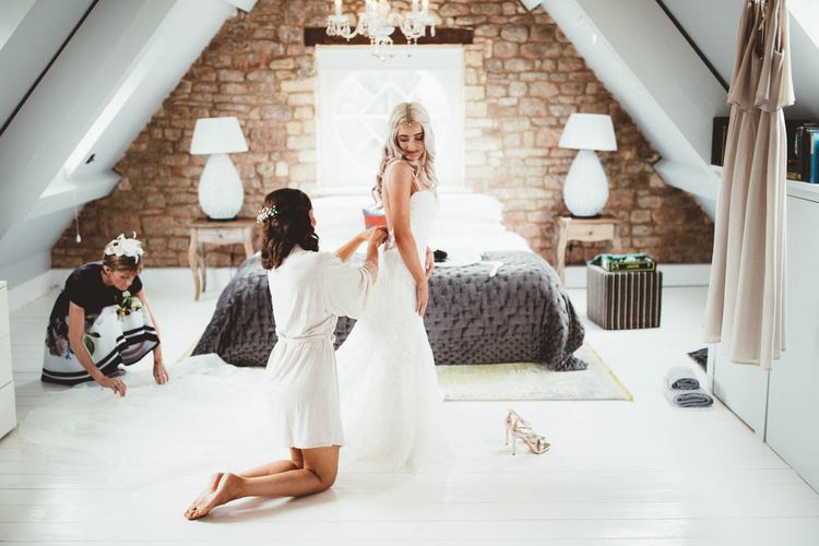 Wedding Morning Bridal Preparations with Brides in Danni Made With Love Bridal  Wedding Dress