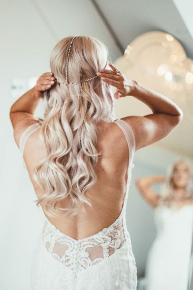 Long Wavy Bridal Hair with Home-made Fantasy Headdress