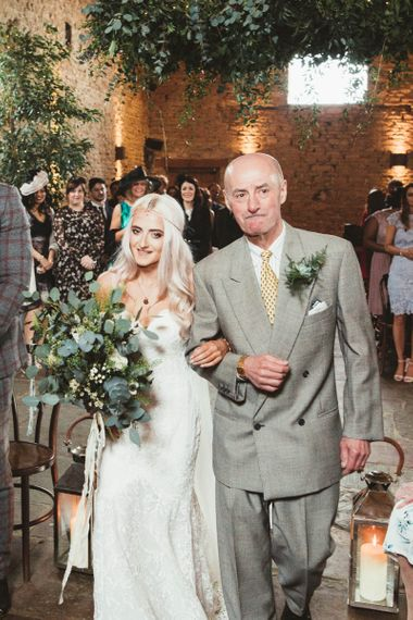 Bride in Danni Made With Love Bridal  Wedding Dress Walking Down the Aisle with Her Father