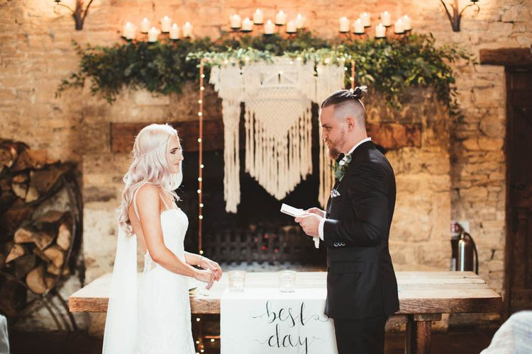 Wedding Ceremony Vows with Bride  in Danni Made With Love Bridal  Wedding Dress and Groom in Reiss Suit