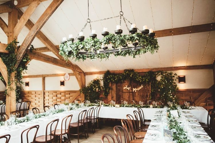 Wedding Reception Decor and Greenery Wedding Flowers