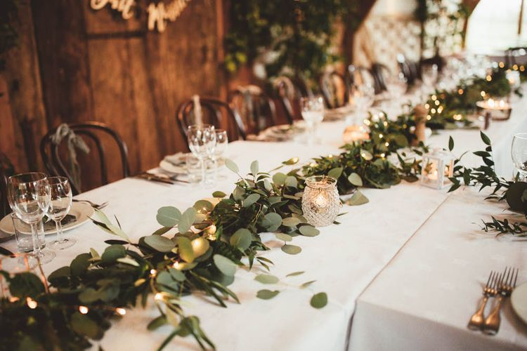 Greenery and Fairy Light Table Runner
