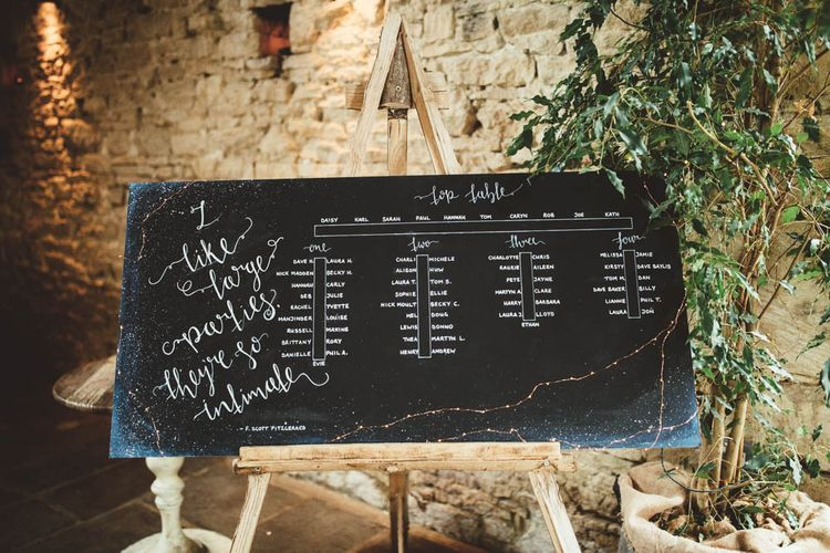 Celestial Black Seating Chart on an Easel