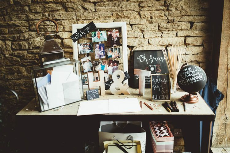 Wedding Cards, Globe Guest Book and Polaroid Station