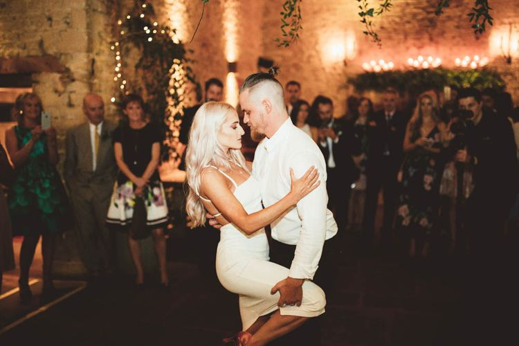 Bride and Groom Taking Their Choreographed First Dance
