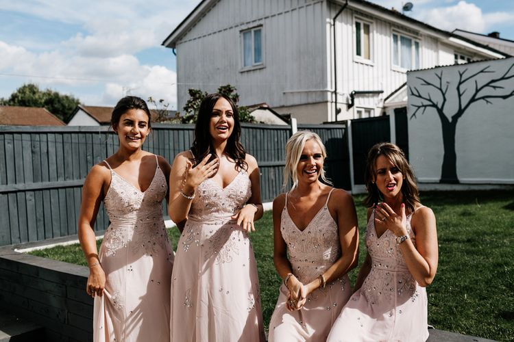 Bridesmaids in Pink Strappy Dresses with Jewels From ASOS
