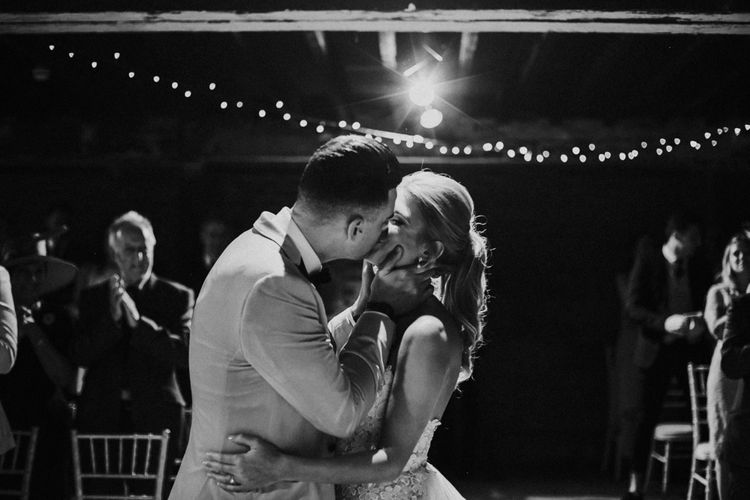 Bride and Groom Kissing During the Wedding Ceremony