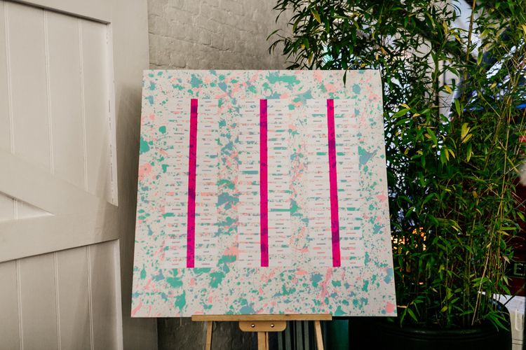 Colourful Wedding Seating Chart on Easel