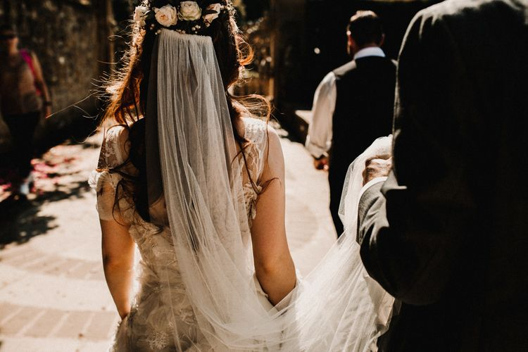Bride in  Appliqué Flowers Yolan Cris 'Espino' Wedding Dress | Wedding Veil & Fresh Flowers | Pre-Raphaelite Mood Wedding at Heaver Castle in Kent | Carla Blain Photography