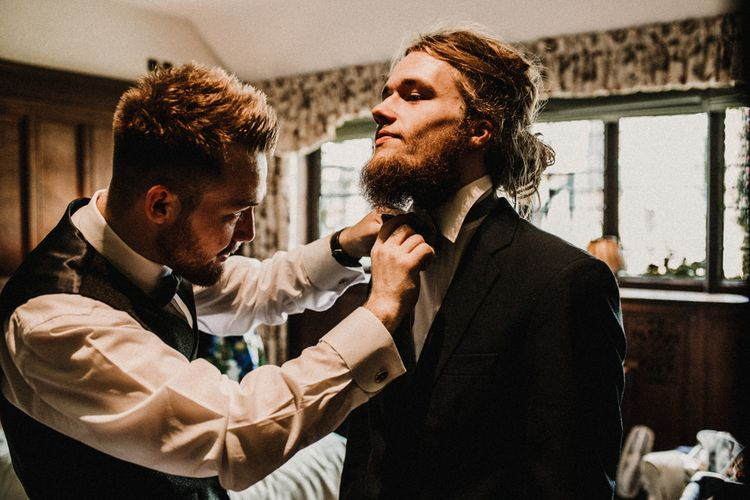 Groomsmen Wedding Morning | Pre-Raphaelite Mood Wedding at Heaver Castle in Kent | Carla Blain Photography