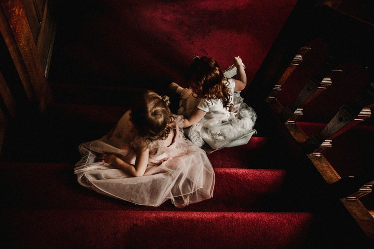 Flower Girls in Monsoon Dresses | Pre-Raphaelite Mood Wedding at Heaver Castle in Kent | Carla Blain Photography