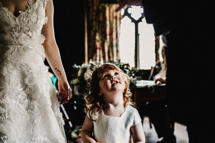 Flower Girl & Ring Bearer in Monsoon Dress | Pre-Raphaelite Mood Wedding at Heaver Castle in Kent | Carla Blain Photography