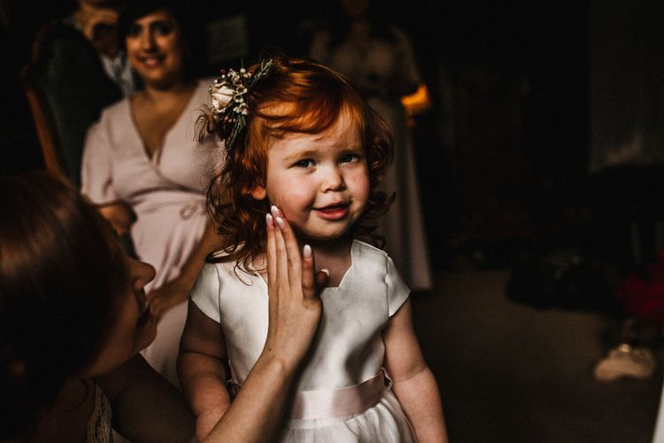 Flower Girl in Monsoon Dress | Pre-Raphaelite Mood Wedding at Heaver Castle in Kent | Carla Blain Photography