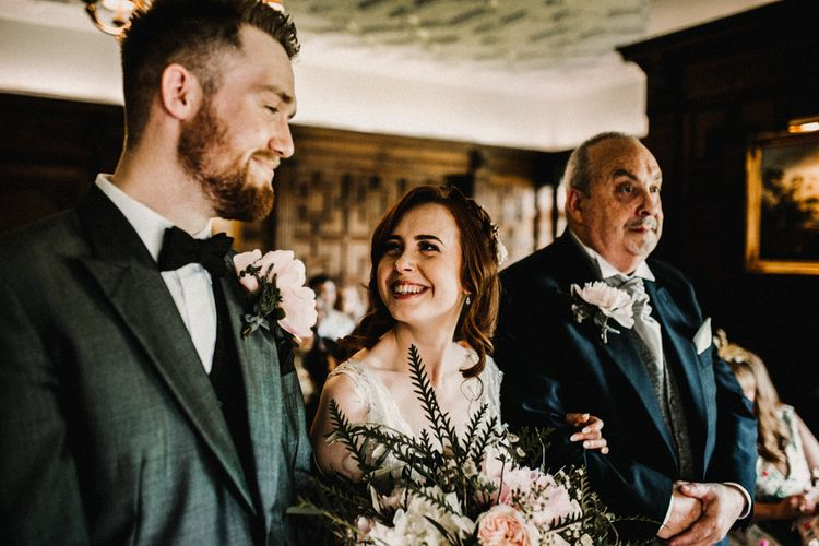 Wedding Ceremony | Bride in  Appliqué Flowers Yolan Cris 'Espino' Wedding Dress | Groom in Grey's Suit Hire | Pre-Raphaelite Mood Wedding at Heaver Castle in Kent | Carla Blain Photography