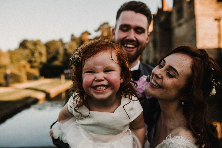 Family Portrait | Bride in  Appliqué Flowers Yolan Cris 'Espino' Wedding Dress | Groom in Grey's Suit Hire | Pre-Raphaelite Mood Wedding at Heaver Castle in Kent | Carla Blain Photography