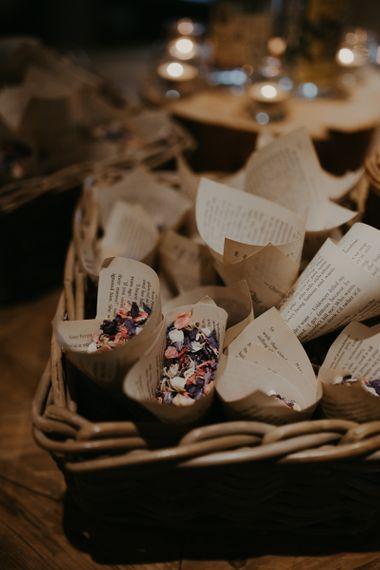 Book pages confetti cones