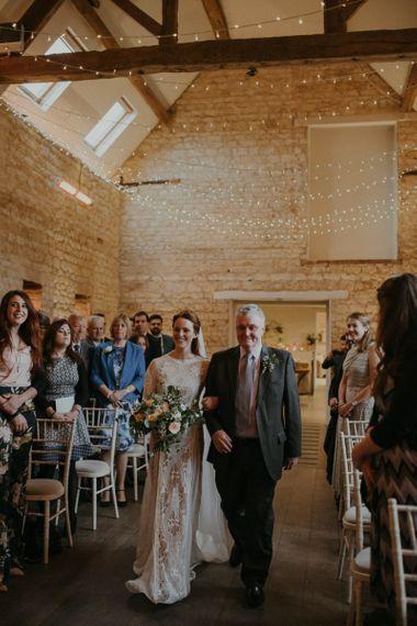 Wedding ceremony bridal entrance at Lapstone Barn