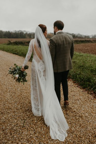 Bride and groom portrait at Lapstone Barn
