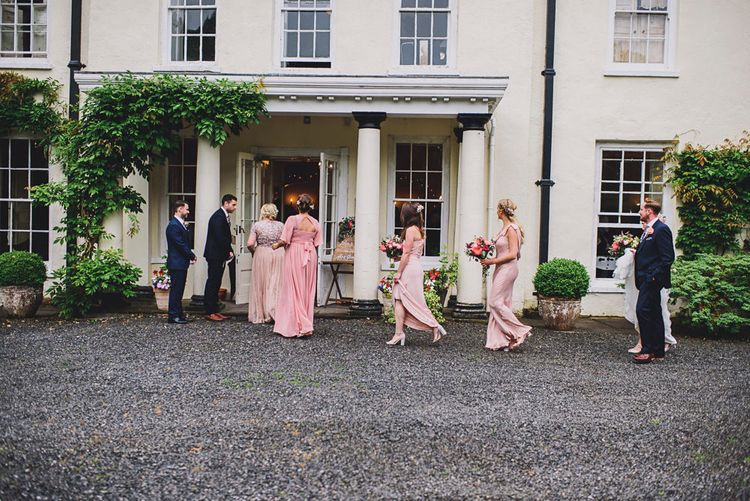 Bridesmaids in Pink ASOS Dresses   DIY Bright Family Wedding at Plas Glansevin in Carmarthenshire, Wales    O& C Photography