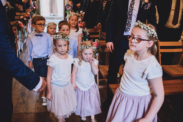 Flower Girls   DIY Bright Family Wedding at Plas Glansevin in Carmarthenshire, Wales    O& C Photography