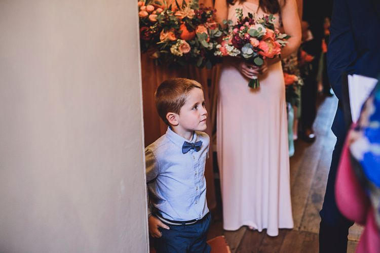 Page Boy   Bridesmaid in Pink ASOS Dress   DIY Bright Family Wedding at Plas Glansevin in Carmarthenshire, Wales    O& C Photography