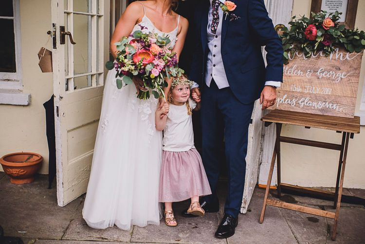 Family Portrait   Bride in MiaMia Spagetti Strap Bridal Gown   Groom in Next 3-piece Suit   DIY Bright Family Wedding at Plas Glansevin in Carmarthenshire, Wales    O& C Photography