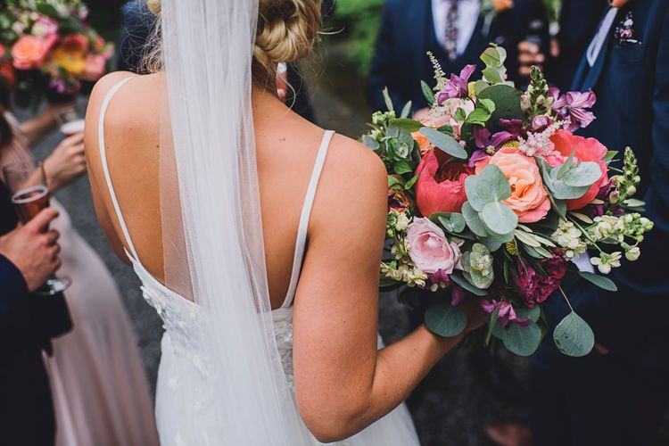 Bride in MiaMia Spagetti Strap Bridal Gown   DIY Bright Family Wedding at Plas Glansevin in Carmarthenshire, Wales    O& C Photography