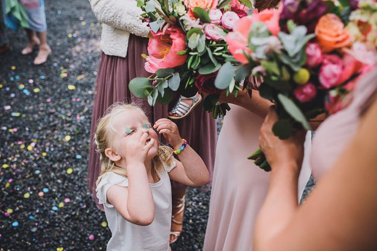 Colourful Bridal Bouquet   Bride in MiaMia Spagetti Strap Bridal Gown    DIY Bright Family Wedding at Plas Glansevin in Carmarthenshire, Wales    O& C Photography