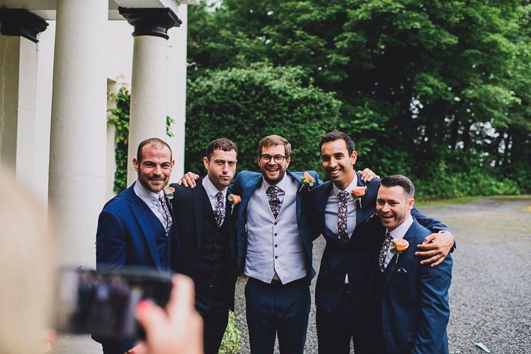 Groomsmen   Groom in Next 3-piece Suit   DIY Bright Family Wedding at Plas Glansevin in Carmarthenshire, Wales    O& C Photography