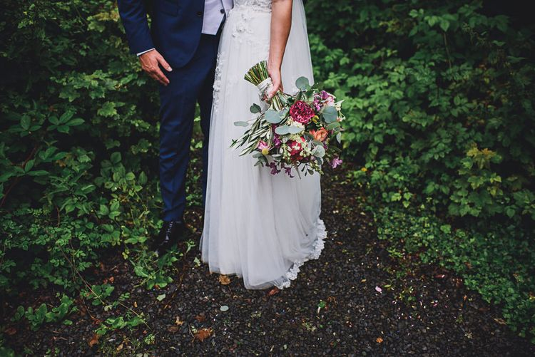 Colourful Bouquet   Bride in MiaMia Spagetti Strap Bridal Gown   Groom in Next 3-piece Suit   DIY Bright Family Wedding at Plas Glansevin in Carmarthenshire, Wales    O& C Photography