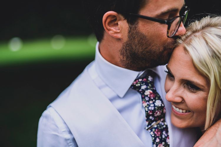 Bride in MiaMia Spagetti Strap Bridal Gown   Groom in Next 3-piece Suit   DIY Bright Family Wedding at Plas Glansevin in Carmarthenshire, Wales    O& C Photography