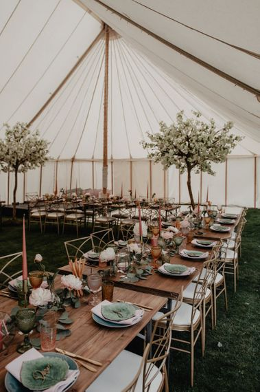 Cherry Blossom wedding decor in marquee