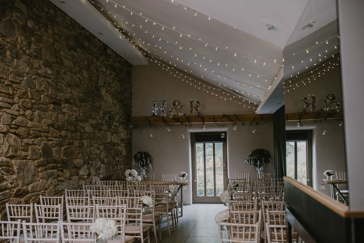 Fairy Light Covered Ceremony Room at Trevenna Barn in Cornwall