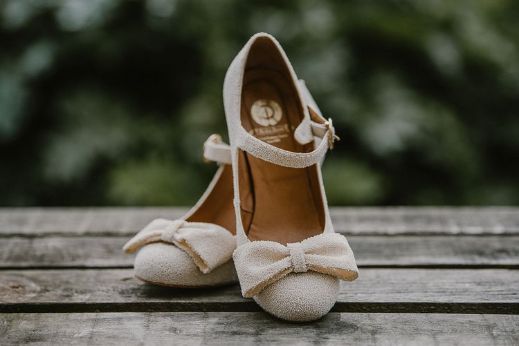 Small Pearl Covered Mary Jane Shoes with Bow Fronts