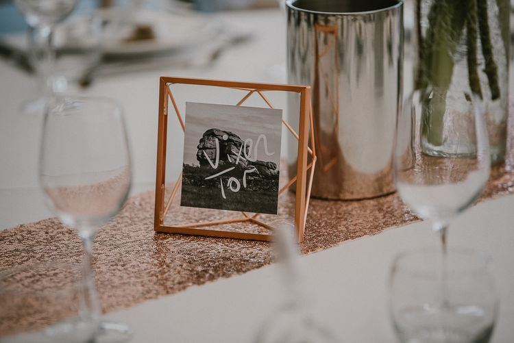 Sequin Table Runner with Copper Frame Table Name