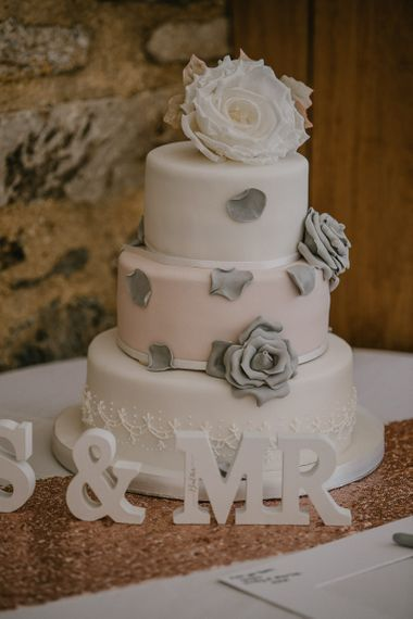 Three Tier White, Grey and Light Pink Wedding Cake