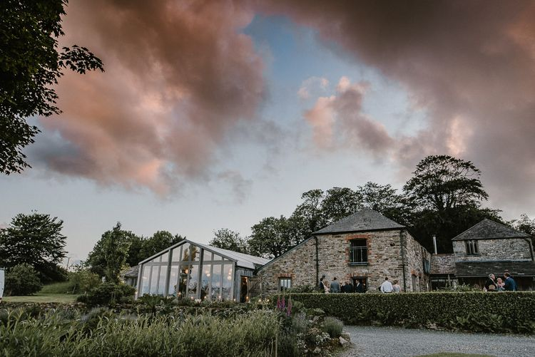 Trevenna Barn Cornwall Wedding Venue at Dusk