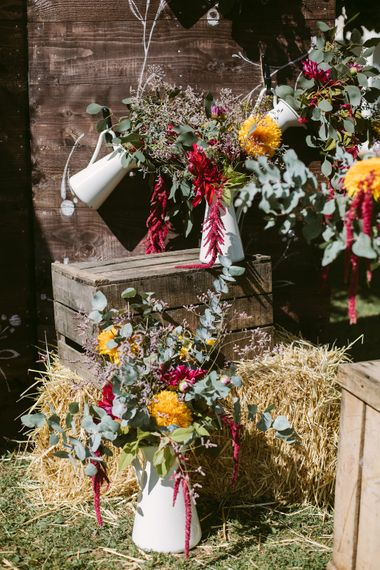 Wooden Crates, Pitcher Jugs & Flowers Wedding Decor | Stylish Two Day Wedding at Château de Varennes, Burgundy, France with I Do BBQ After Party Planned by Bulle & Tulle | Troistudios Photography | Studio80  Film