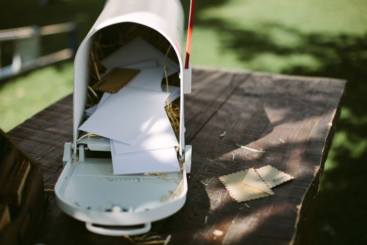 American Post Box Wedding Card Box | Stylish Two Day Wedding at Château de Varennes, Burgundy, France with I Do BBQ After Party Planned by Bulle & Tulle | Troistudios Photography | Studio80  Film