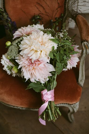 Dahlia Baby Pink Bouquet | Stylish Two Day Wedding at Château de Varennes, Burgundy, France with I Do BBQ After Party Planned by Bulle & Tulle | Troistudios Photography | Studio80  Film
