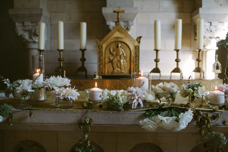 Altar Wedding Decor | Stylish Two Day Wedding at Château de Varennes, Burgundy, France with I Do BBQ After Party Planned by Bulle & Tulle | Troistudios Photography | Studio80  Film