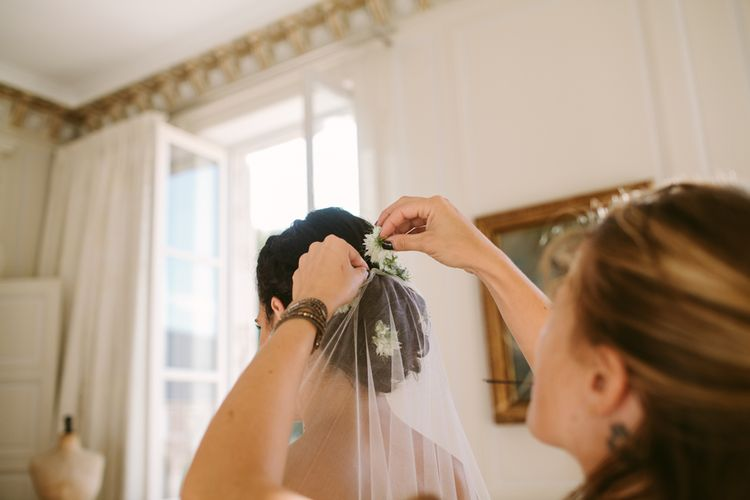 Wedding Morning Bridal Preparations | Stylish Two Day Wedding at Château de Varennes, Burgundy, France with I Do BBQ After Party Planned by Bulle & Tulle | Troistudios Photography | Studio80  Film