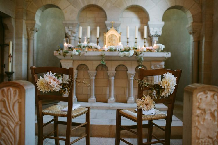 Altar Decor | Floral Chair Backs | Candle Light | Stylish Two Day Wedding at Château de Varennes, Burgundy, France with I Do BBQ After Party Planned by Bulle & Tulle | Troistudios Photography | Studio80  Film