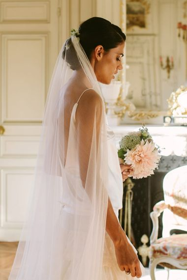 Bride in Delphine Manivet Bridal Separates | Stylish Two Day Wedding at Château de Varennes, Burgundy, France with I Do BBQ After Party Planned by Bulle & Tulle | Troistudios Photography | Studio80  Film
