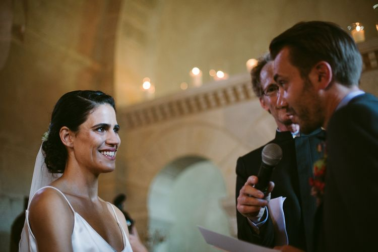 Church Ceremony | Bride in Delphine Manivet Bridal Separates | Groom in Ralph Lauren Suit | Stylish Two Day Wedding at Château de Varennes, Burgundy, France with I Do BBQ After Party Planned by Bulle & Tulle | Troistudios Photography | Studio80  Film