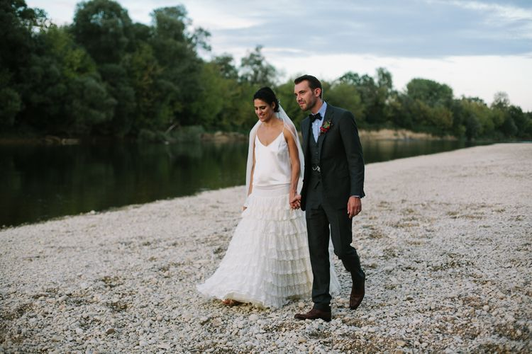 Bride in Delphine Manivet Bridal Separates | Groom in Ralph Lauren Suit | Stylish Two Day Wedding at Château de Varennes, Burgundy, France with I Do BBQ After Party Planned by Bulle & Tulle | Troistudios Photography | Studio80  Film