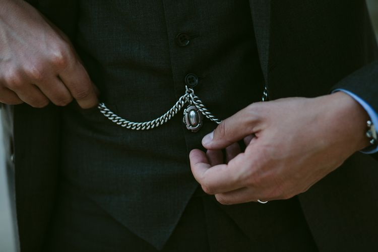 Pocket Watch Chain | Stylish Two Day Wedding at Château de Varennes, Burgundy, France with I Do BBQ After Party Planned by Bulle & Tulle | Troistudios Photography | Studio80  Film
