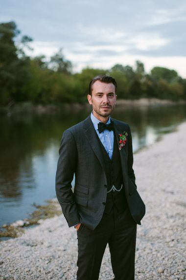 Groom in Three Piece Ralph Lauren Suit | Stylish Two Day Wedding at Château de Varennes, Burgundy, France with I Do BBQ After Party Planned by Bulle & Tulle | Troistudios Photography | Studio80  Film
