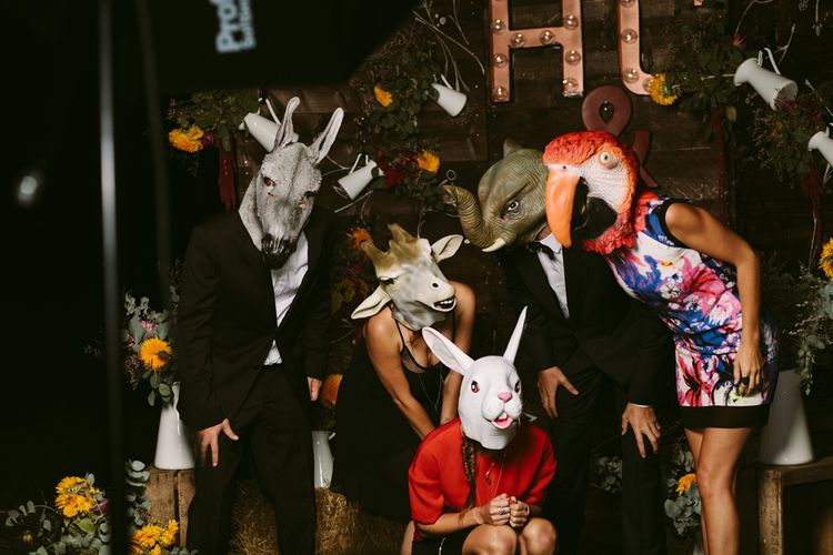 Animal Masks | Stylish Two Day Wedding at Château de Varennes, Burgundy, France with I Do BBQ After Party Planned by Bulle & Tulle | Troistudios Photography | Studio80  Film